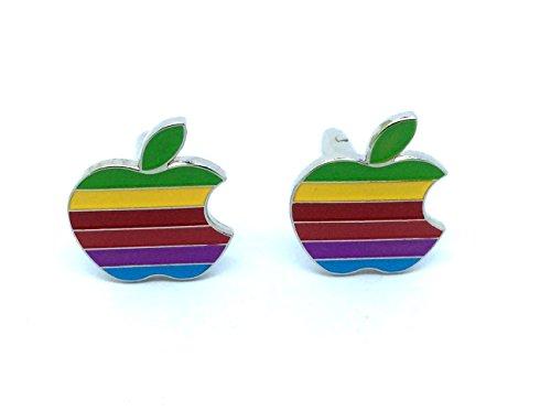 Apple-Bunt Gestreifte Cosplay Cufflinks Manschettenknöpfe + Geschenkkarton