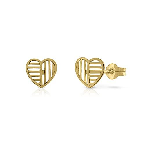Pendientes Oro de Ley Certificado. Niña/Mujer. Diseño Corazón. Cierre de presión. Medida 7 mm. (4-4754-7)
