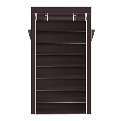 Sammious 10 Tiers Shoe Rack with Dustproof Cover Closet Shoe Storage Cabinet Organizer Dark Brown