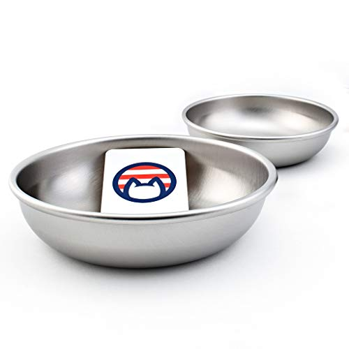 Americat Company Stainless Steel Cat Bowls – Made in The USA from U.S. Materials – Prevent Whisker Fatigue – Dishes for Cat Food and Water (Set of 2)