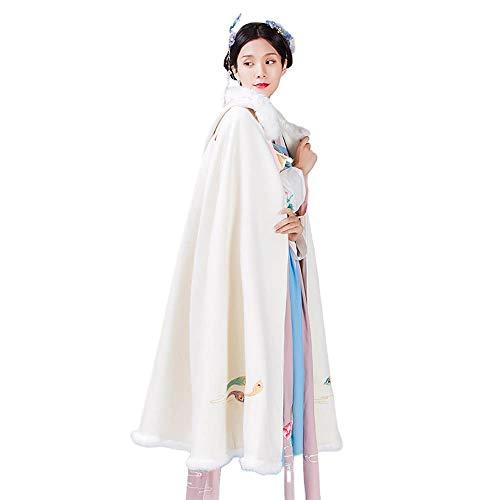 XIAOLULU Traje Tradicional Chino Hanfu Cosplay Traje Tradicional Modelo Blanco Animal Bordado Hanfu Capa de Halloween Cosplay del Estilo Chino Hanfu (Color : Blanco, tamaño : Metro)