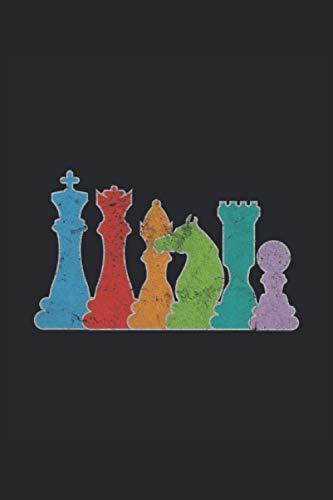 Schach Schachspieler Schachfiguren König Dame Läufer Pferd Turm Schachbrett: Notizbuch - Notizheft - Notizblock - Tagebuch - Planer - Liniert - ... - 6 x 9 Zoll (15.24 x 22.86 cm) - 120 Seiten