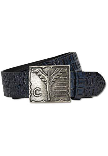 Carlo Colucci - Cinturón de piel con relieve de cocodrilo, color azul