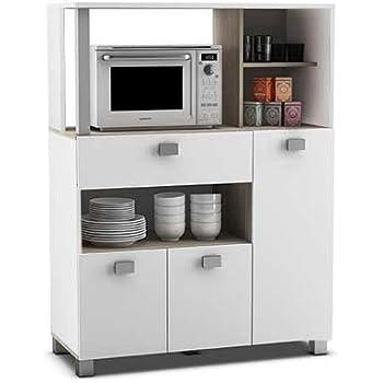Abitti Mueble Auxiliar de Cocina en Color Blanco con un Cajon y Varios Compartimentos 132x99cm: Amazon.es: Jardín