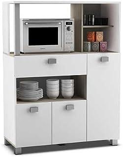Abitti Mueble Auxiliar de Cocina en Color Blanco con un Cajon y Varios Compartimentos 132x99cm