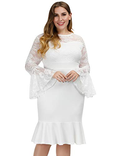 Hanna Nikole Floral Lace Wedding Dresses for Women Plus Size Flare Sleeve White Dress 20W