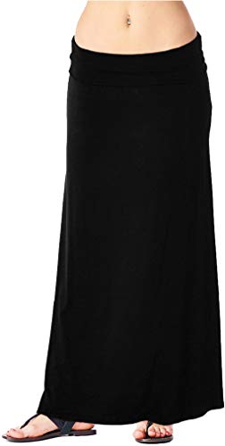 Popana Womens Long Maxi Skirt Casual Convertible Sundress Plus Size Made in USA Black Medium
