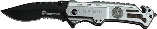 USMC Adultes fermé en cm : 12,07 Couteau d'extérieur, poignée en Aluminium Silver, uni