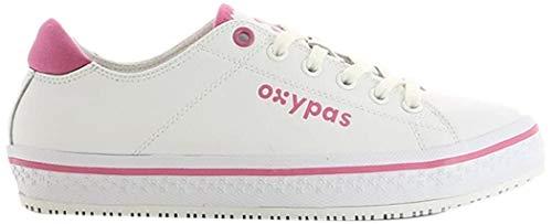 Oxypas Fashion, Paola, antistatischer (ESD) Leder-Arbeitsschuh für Damen, Farbe: Fuchsien, Größe: 38