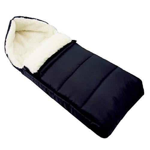 BAMBINIWELT universaler Winterfußsack (108cm), auch geeignet für Babyschale, Kinderwagen, Buggy, aus Wolle UNI liniert (schwarz)
