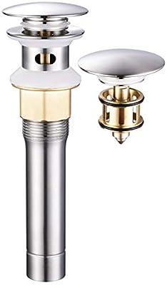 GAGALIFE Bathroom Sink Drain(Brushed Nickel), Pop Up Sink Drain Stopper with Overflow, JH2020DK-BN
