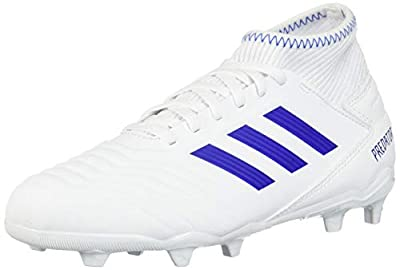 adidas Unisex-Kid's Predator 19.3 Firm Ground Soccer Shoe, White/Bold Blue/Bold Blue, 13K M US Little Kid
