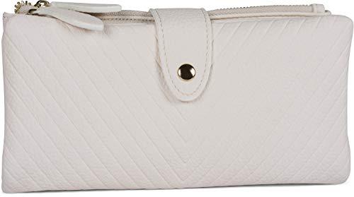 styleBREAKER Damen Portemonnaie mit V-Förmig geprägter Struktur, Druckknopf, Reißverschluss Geldbörse 02040124, Farbe:Weiß