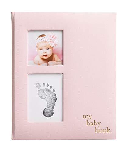 Pearhead Linen Baby Memory Book and Clean-Touch Ink Pad, Baby Girl Gift, Baby Milestones Photo Album, Pink