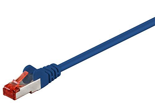 Goobay 92767 CAT 6 Kabel Lan Netzwerkkabel für Gigabit Ethernet S-FTP doppelt geschirmtes Patchkabel mit RJ45 Stecker, 0,25m, Blau