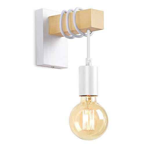 Lightess Lámpara de Pared Madera Apliques de Pared Industrial Casquillo E27 LED 40W Iluminación Interior para Dormitorio, Hotel, Bar, Restaurante, Cafetería, No Incluye Bombilla (blanco)