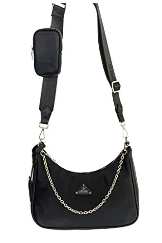 Vestino Damen Schultertasche Cross Body Bag Nylon Re-Edition 2-Teilig