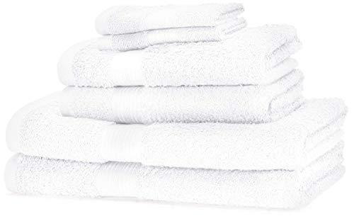 Amazon Basics - Set di 2 asciugamani da bagno,2 asciugamani per le mani e 2 asciguamani da bidet che non sbiadiscono, colore Bianco Candido