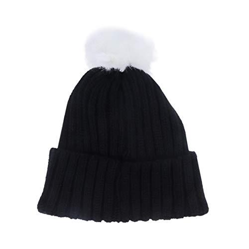 FENICAL Gorro de Punto para niños Gorro de Lana con pompón cálido Gorro de Ganchillo de Lana Bufandas para otoño Invierno (Negro)