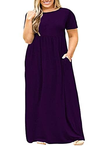 Nemidor Women Short Sleeve Loose Plain Casual Plus Size Long Maxi Dress with Pockets (Purple, 22W)