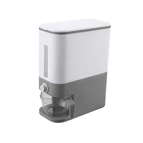 DIAOD Aufbewahrungsbox Für Getreidespender Automatischer Kunststoff-Lebensmitteltank Reisbehälter Organizer Messbecher Küchengetreide-Aufbewahrungsdosen (Color : Gray)