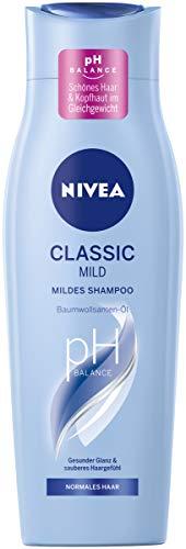Nivea Classic Mild shampoo (250 ml), verzorgende haarshampoo met katoenzaadolie, mild reinigende verzorgingsshampoo voor normaal haar