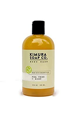 Kimura Soap Tea Tree Mint Body Wash Organic All Natural Moisturizing Body Wash Soap. American Made With Essential Oils. Gluten Free, Vegan, Cruelty Free Travel Soap For Active Men and Women