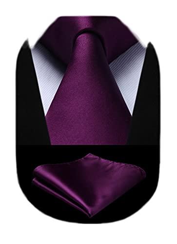 HISDERN Corbatas Morada para Hombre Boda Corbata y Pañuelo Corbatas de Hombre...
