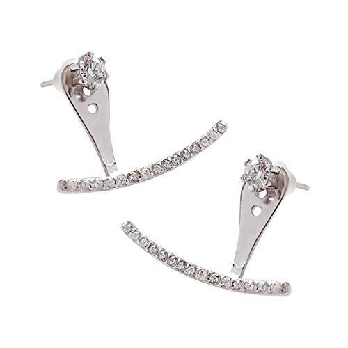 Lotus Fun S925 Sterling Silber Ohrringe Temperament Halbbogen Mikro-eingelegter Zirkon Hinten Hängen Ohrringe Natürlicher Kreativ Beliebt Handgemachter Frauen und Mädchen
