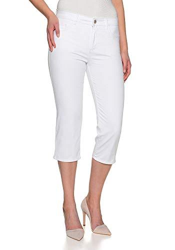 Stretch Capri Jeans Hose Tahiti Slim fit Damen Bermuda 7/8 Hose in vielen Farben (W46, Weiss)