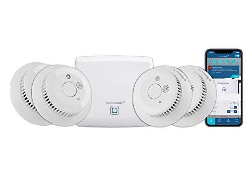 Homematic IP Access Point - Smart Home Gateway mit kostenloser App und Sprachsteuerung über Amazon Alexa + 4x Rauchwarnmelder mit Q-Label, intelligenter Alarm lokal und per App aufs Smartphone
