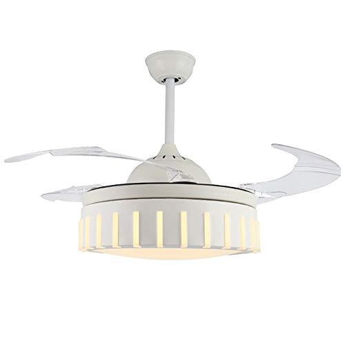 Luz nocturna invisible para el hogar, simple y silencioso, ventilador de techo, para comedor, sala de estar, decoración de fiestas, habitación de los niños (color blanco)