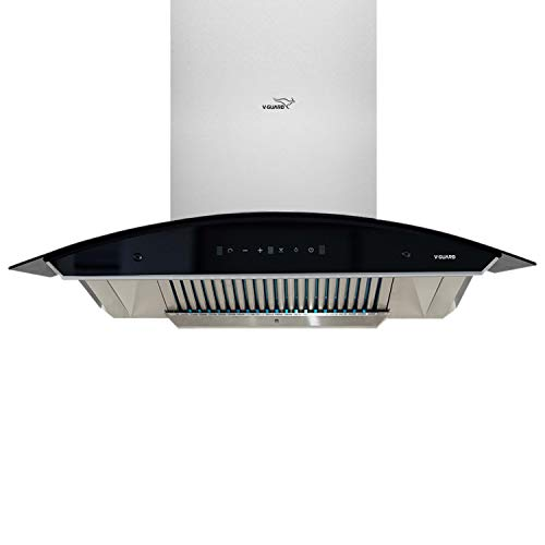 V-Guard A20 90cm Kitchen Chimney with 1200m³/hr Suction, Intelligent Auto Clean, Curved Glass, Baffle Filter, Motion Sensor...