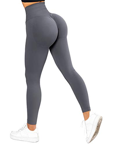 SUUKSESS Scrunch Butt Lifting Seamless Leggings for Women Booty High Waisted Workout Yoga Pants (Grey, M)