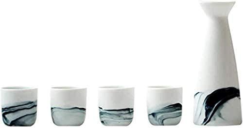 Mnjin Exquisites Japanisches Sake-Set, 5-teiliges Sake-Servierset, weiße Landschaftsmalerei, für kalten/warmen/heißen Sake/Shochu/Tee, Familie und Freunde Sake-Set als