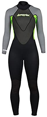 Hyperflex Men's and Women's 3mm Full Body Wetsuit – SURFING, Water Sports, Scuba Diving, Snorkeling - Comfort, Flexible and Anatomical Fit - and Adjustable Collar, Green, 4