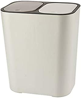 Apostasi Trash Can Rectangle Plastic Push-Button, Dual Compartment 12liter Recycling Spring Top Cover Type Cover Waste wit...