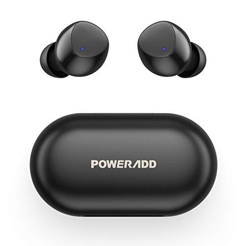 POWERADD S10 Auriculares Inalámbricos Bluetooth 5.0 con Micrófono, Auriculares Bluetooth Deportivos HiFi Estéreo IPX8 Impermeable 25H In-Ear Cascos Inalámbricos para Xiaomi Sony Samsung iPhone Huawei
