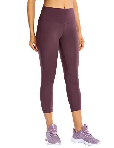 CRZ YOGA Mujer Compresión Mallas Largos Pantalones Deportivos Cintura Alta con Bolsillo-53cm Violeta Claro 40