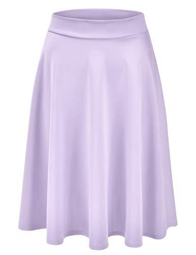 EIMIN Women's Basic Versatile Stretchy Flared Casual Midi Skater Skirt Lavender 1XL