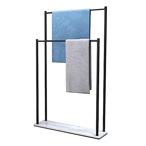 Toallero de pie De Metal Toalleros repisa para baño con 2 Barras y base de mármol, baño Toallero escalera De Metal para toallas de ducha, toallas(Size:75*20*105cm,Color:Base de mármol negro + blanco)