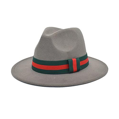 Wool Felt Fedora Hat for Women Men Wide Brim Straight Side Men Women Jazz Top Hat Panama Caps with Luxury Thin Belt (Color : 15, Size : 56 58cm)