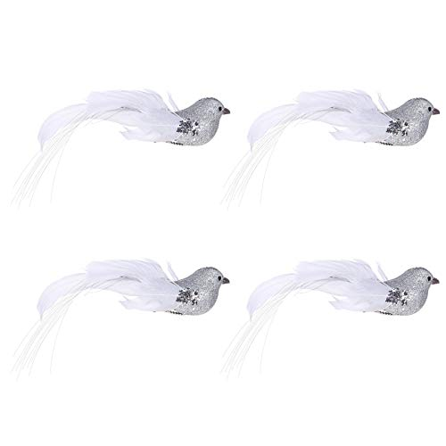 TOYANDONA Juego de 4 pájaros artificiales con plumas y clip, 14 cm, brillantes, decoración para árbol de Navidad, decoración para el jardín