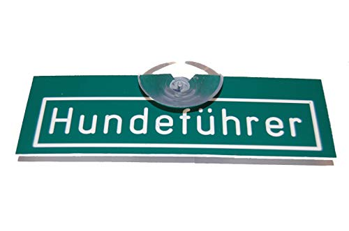 Jehn Autoschild Hundeführer, grün/weiß, 15cm