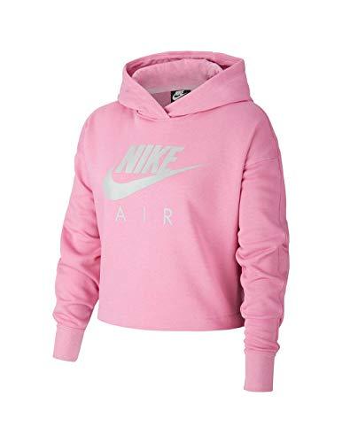 Nike NSW Air Crop Felpa con Cappuccio da Ragazza, Bambina, Felpa con Cappuccio, CJ7413, Magic Flamingo/Lt Smoke Grey., XS