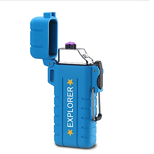 Mechero Electrico Encendedor USB Doble Arco Mechero Recargable y Resistente al Viento Mechero de Plasma sin Gas con Cable Portátil Caja de Regalo,Blue