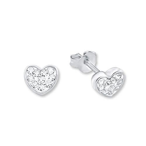 amor Ohrstecker für Damen 6 mm Herz 925 Sterling Silber rhodiniert veredelt mit Kristallen von Swarovski
