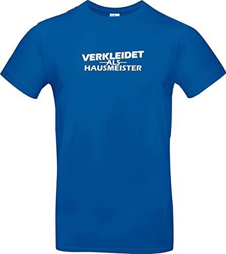 Shirtstown T-Shirt, Verkleidet als Hausmeister, Kostüm, Verkleiden, Verkleidung, Karneval, Fasching, Motto, Party, Shirt, Hemd, Niki, Motiv, Logo, Spruch, Farbe Royal, Größe XL