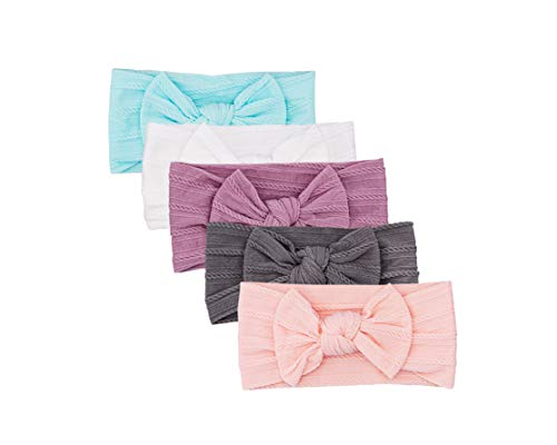Parker Baby Girl Headbands - 5 Pack of Cable Knit Nylon Bows for Girls -'Grace Set'