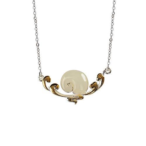 THTHT halsketting van 925 sterling zilver voor dames, retro-jade olifant, elegant, gepoedercoat, geïntegreerde ketting, modieuze Chinese stijl, eenvoudige charme, mannen, bruidscadeau